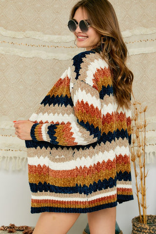 Zig-Zag Striped Chenille Sweater Cardigan