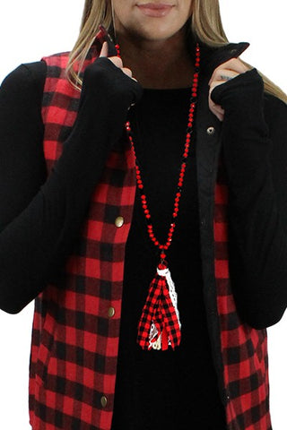 Plaid Tassel Necklace