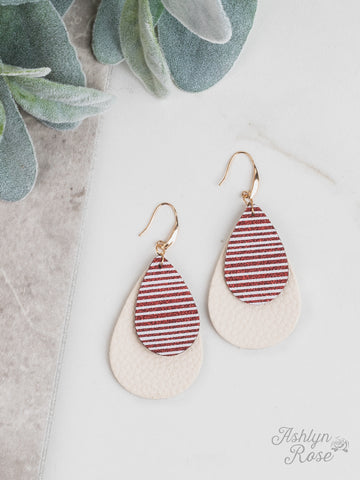 Glitter Stripe Double Teardrop Earring On Cream, Red