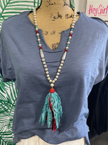 Red and Teal Necklace