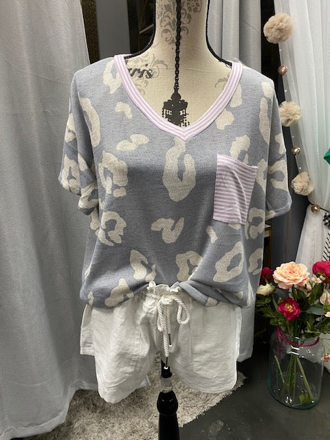 Gray Cheetah V-Neck Top w/ Pocket