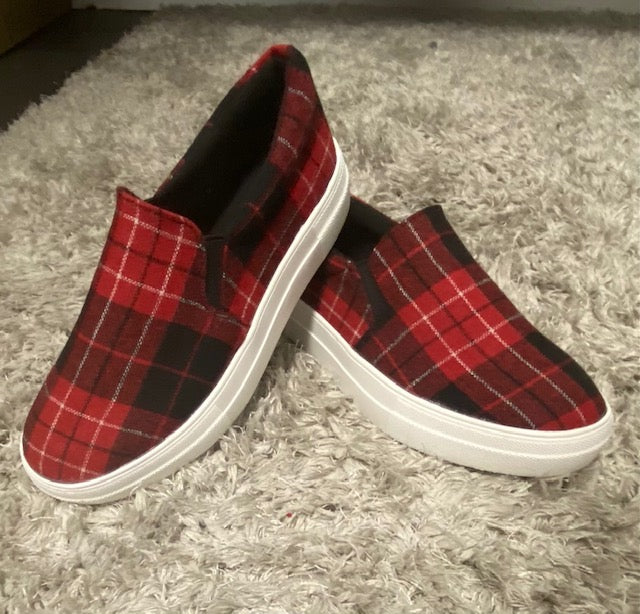 Red Plaid Slip-on shoes