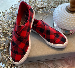 Red/Black Plaid Along Gypsy Jazz Sneakers