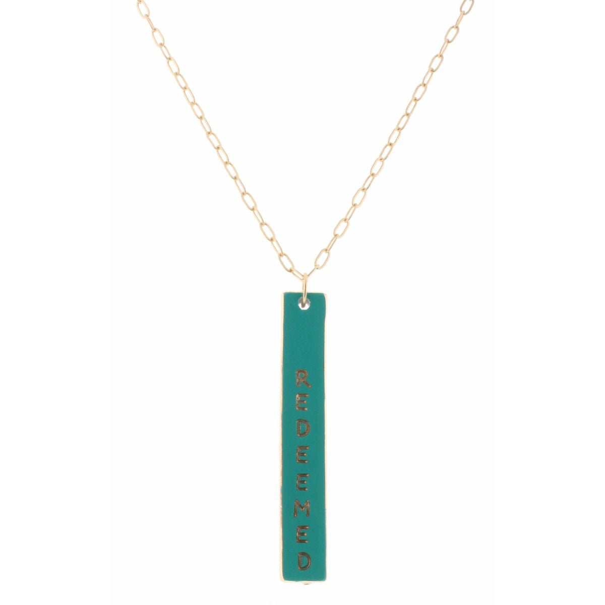 "30"" Reversible Teal Cross Necklace"