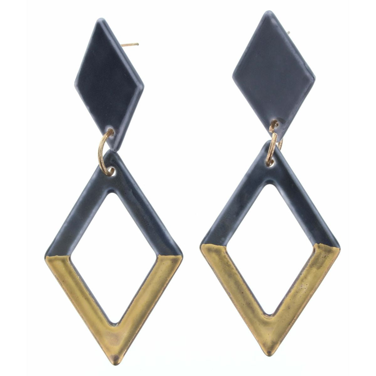 Golden Smokey Grey Diamond Earrings