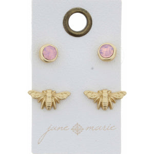 Double Take! Pink & Bee Studs