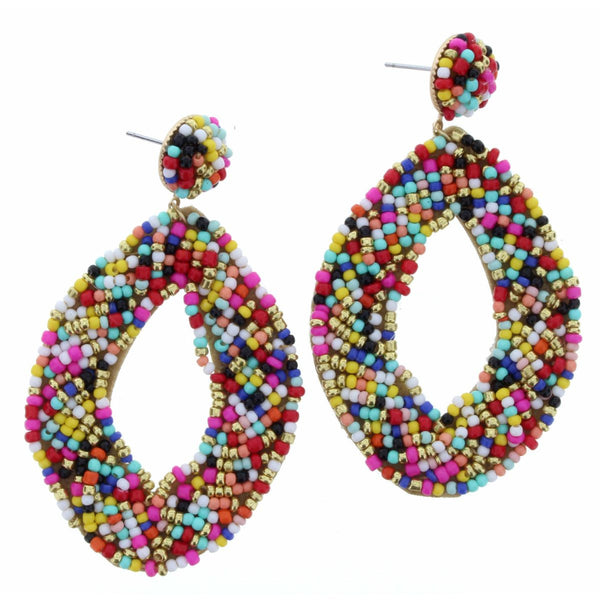 Funtastic! Multi Bead Oval Earrings