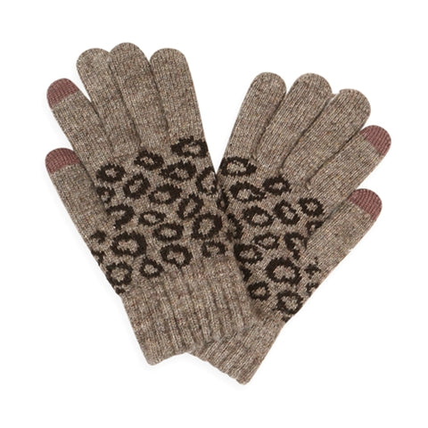 Leopard Knit Smart Touch Gloves