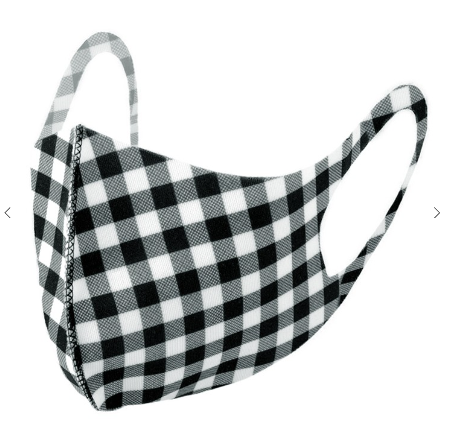 Black Gingham Plaid Fashion Face Mask