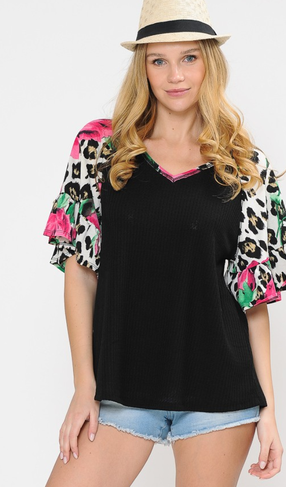 Ruffle Flower Cheetah Top