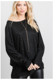 Black Lurex Dolman Long Sleeve