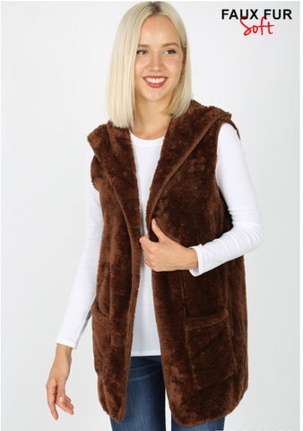 Lori's Brown Fur Vest w/pockets