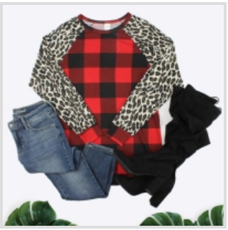 Buffalo Plaid Red w/ leopard sleeves