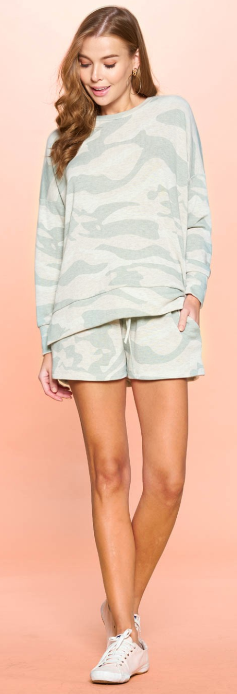 Camouflage Printed Hacci Jersey Shorts