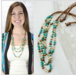 Crystal Turquoise Layered Necklace