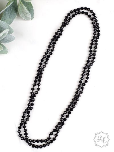 "BLACK 60"" Beaded Necklace"