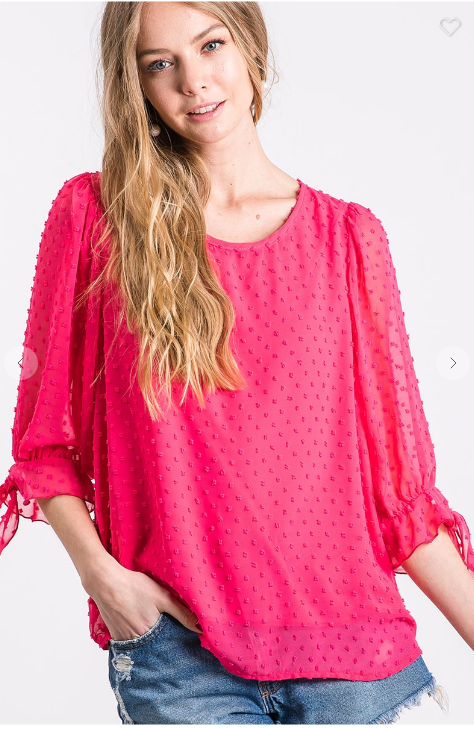 Fuchsia 3/4 sleeve top