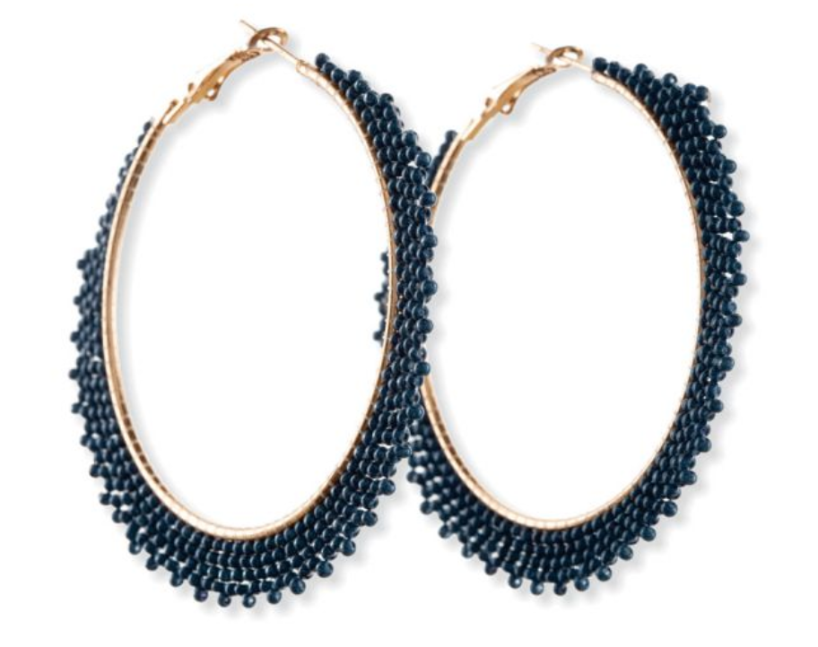 Blue Gala Hoop Earrings