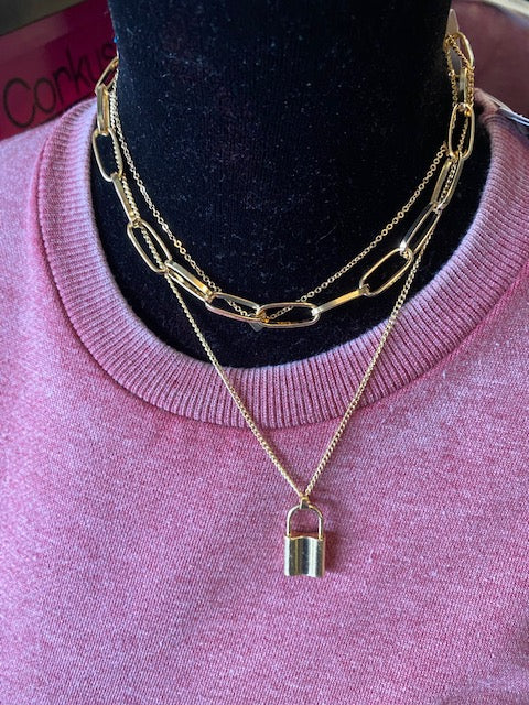 Lock and Heart Pendant Layered Necklace