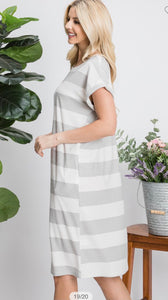 Heather Grey Stripped Dress