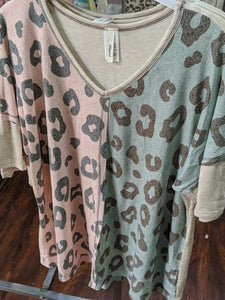 Pink & Blue Top w/ Gray Cheetah
