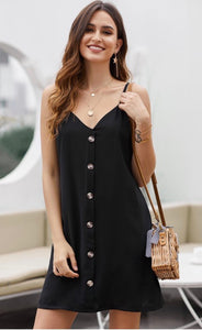 Lillie Black Button Dress