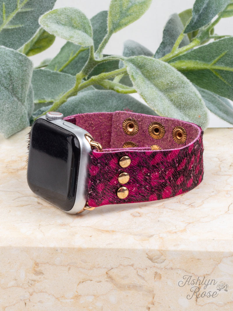 Wildest Dreams 38/40/42 Leather Smart Watch Band, Vibrant Fuchsia