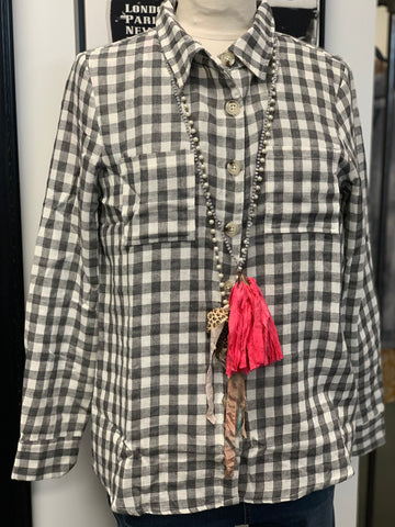 Gray Plaid button up shirt w/ Pockets