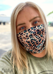 Cheekys Brand ~ Turquoise Cheetah Face Shield and Headband
