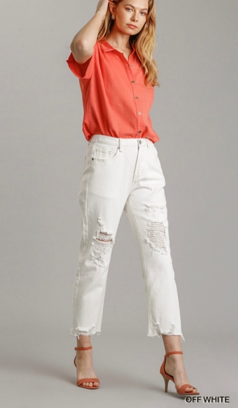 Beth White Distressed Mom Jeans
