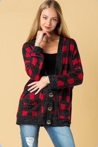 Buffalo Plaid Button Cardi