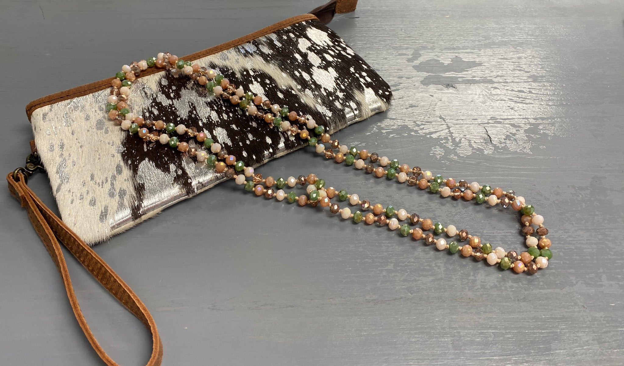 Olive Natural Beaded Necklace