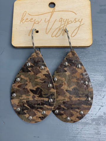 Studded Camo Earrings