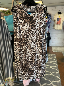 Leopard Tank Dress w/rounded Hem