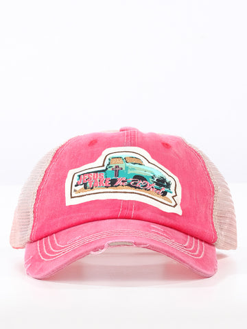 JTW Jesus Take the Wheel Patch on Coral Distressed Hat with Tan Mesh