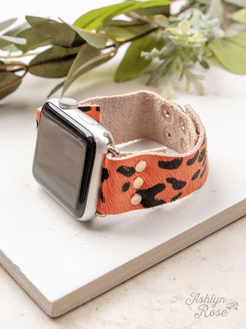 Wildest Dreams 38/40/42 Leather Smart Watch Band, Orange Cheetah