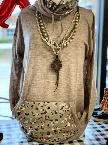 Taupe Leopard And Solid Double Turtle Neck Knit Top