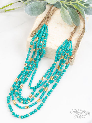 Dressed to Impress Draped Necklace, Turquoise
