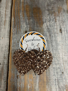 Bronze Glitter Heart Earrings