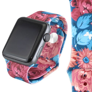 Blue Floral Printed Watch Band