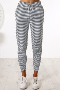 Gray Striped Casual Joggers