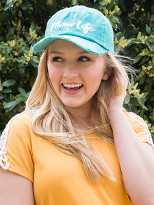 Pray Believe Trust Embroidery on Turquoise Distressed Hat