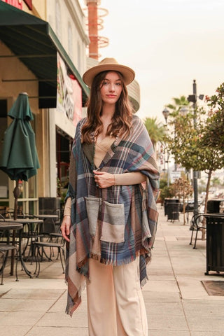 Multicolor Plaid Pocket Blanket Scarf