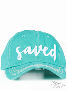 White Saved Embroidery on Turquoise Hat