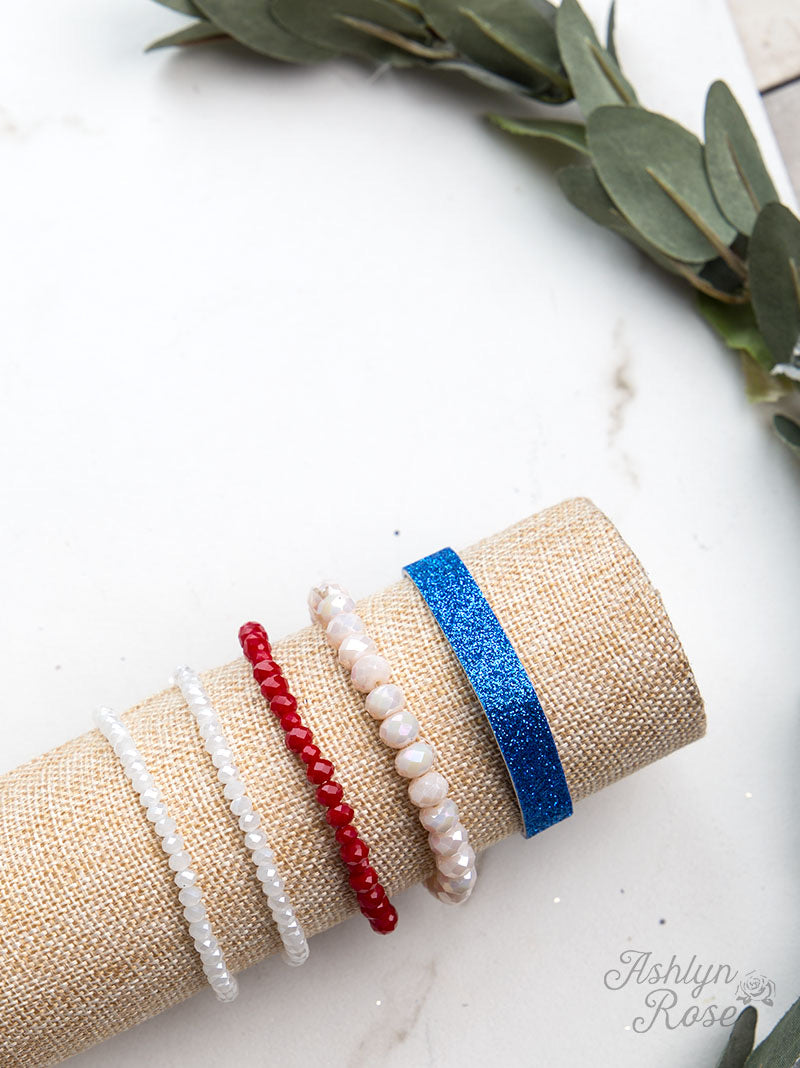 Red, White & Blue 5 Strand Stackable Bracelet Set