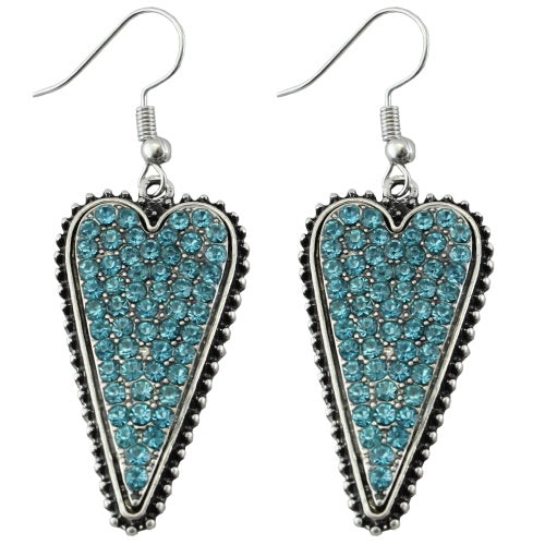 Turquoise & Silver Heart Earrings