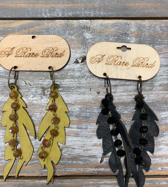 Leather Feather Bead Earrings
