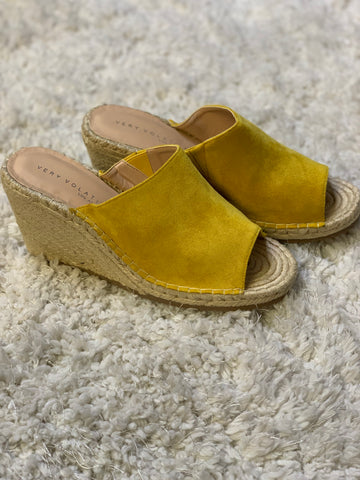 SALE Mustard Espadrille Slide Wedge