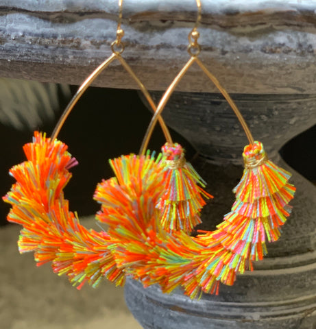 Spring Tassel Hoop Earrings