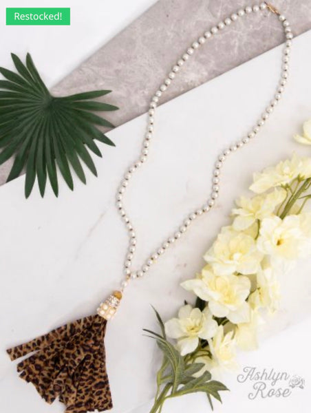 Ella's Pearl Necklace with Leopard Tassel